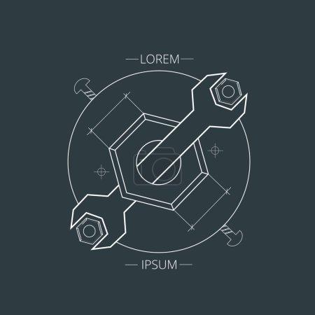 Illustration pour Élément de logo design graphique créatif. Clé et boulon sur un fond sombre - image libre de droit