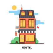 City hostel hotel flat color illustrationTourism industry item low cost hostel building facade