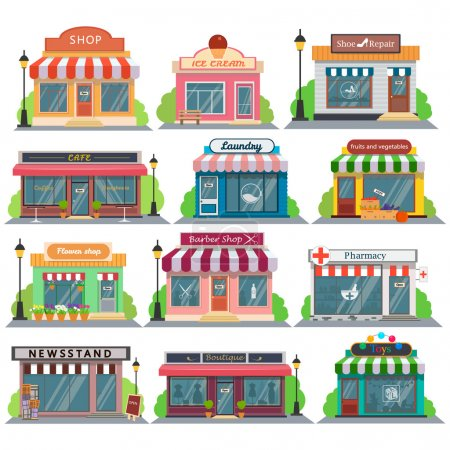 Set of vector flat design restaurants and shops,stores facade icons.Includes shop,newspaper,coffee shop,ice cream shop,flower shop,vegetable,fruit store,Laundry,barber, shoe repair, pharmacy, boutique, toy store.