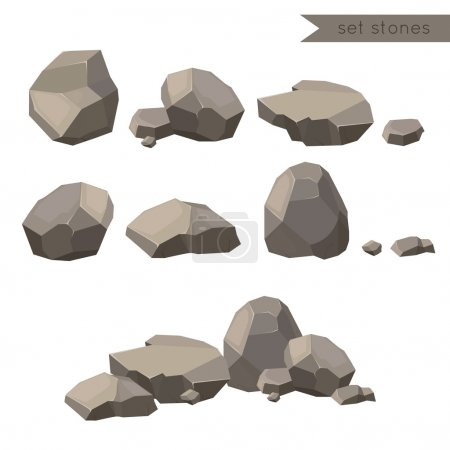 Rocks and stones. Rocks and stones single or piled for damage and rubble for game art architecture design