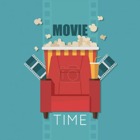 Movie Time flat design illustration. Concept design on home movie watching with sofa,popcorn,film. For web, graphic,motion design