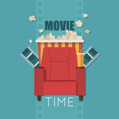 Movie Time flat design illustration Concept design on home movie watching with sofapopcornfilm For web graphicmotion design