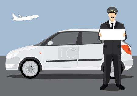 Illustration pour Le chauffeur qui s'est rencontré à l'aéroport avec une pancarte et une voiture blanche . - image libre de droit