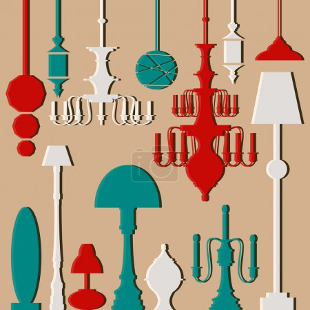 Vector set of lamps and chandeliers isolated on white background.