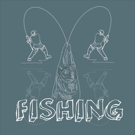 Vector line illustration of fishermen and big pike isolated