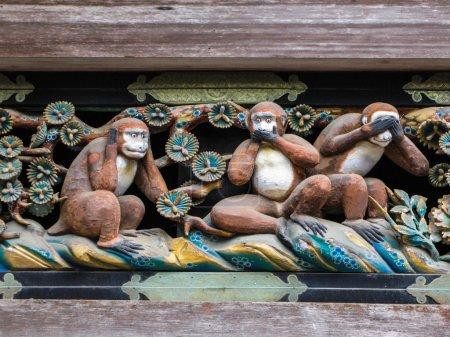 Famous  three  Wise Monkeys  at  the  Toshogu  Shrine  in   Nikko, Japan.
