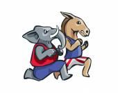 USA Democrat Vs Republican Election Match Cartoon