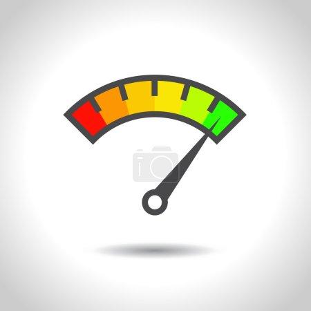 Illustration pour Élément coloré de jauge Info-graphique. Illustration vectorielle. Indicateur de vitesse icône ou signe avec flèche . - image libre de droit