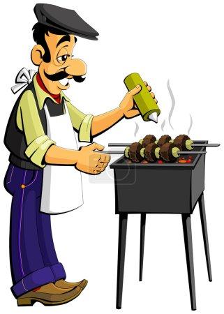 Illustration pour Homme caucasien prépare kebabs sur le gril - image libre de droit