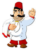 Cartoon chef in the Turkish national fez Gesture approval