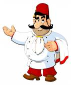 Cartoon chef in the Turkish national fez The gesture of invitation