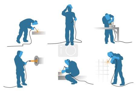 Six welders silhouettes