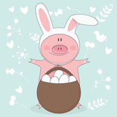 Vector illustration of Easter pig with bunny ears