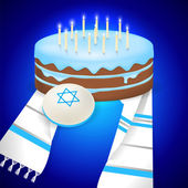 Jewish bar mitzvah  illustration with kipa tallit and cake with 13 candles