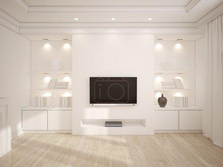 Foto de Ilustración 3D de moderna sala blanca con muebles de madera y Tv - Imagen libre de derechos