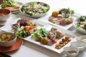 Salát, zdravé potraviny na bílé nádobí