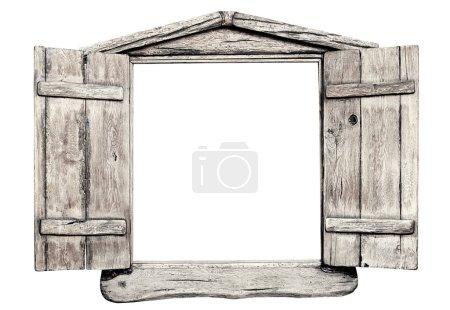 Photo pour Vieux cadre de fenêtre en bois clair grunge, isolé sur blanc. - image libre de droit