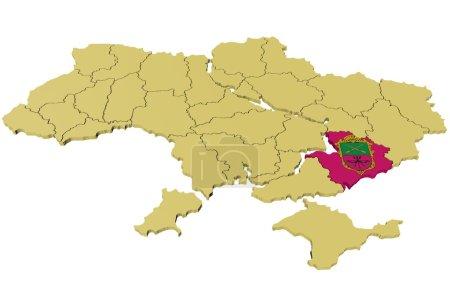 Three-dimensional model of Ukraine by regions...