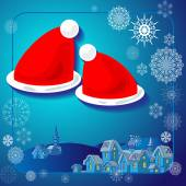 Illustration of Santa hats on a colored background with snowflakes winter landscape in the village