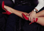 Fashion photo of impassioned couple.office love story