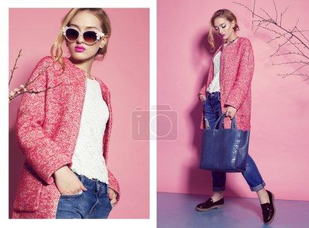 gorgeous   woman in elegant pink coat