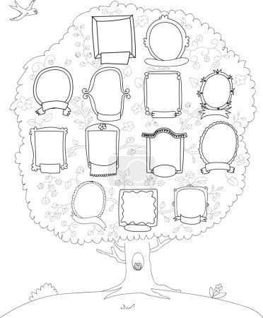 Photo pour Dessiner un arbre généalogique noir et blanc - image libre de droit