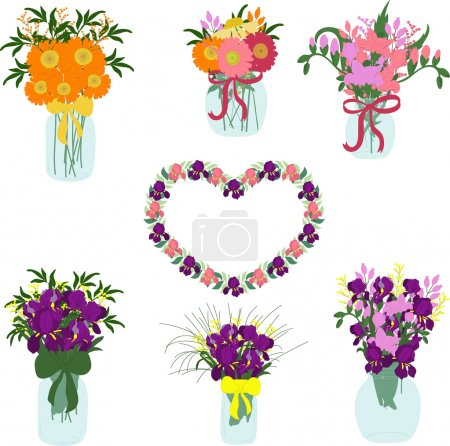 Bouquets of iris, freesia, dahlias, tulips, herbera in jars