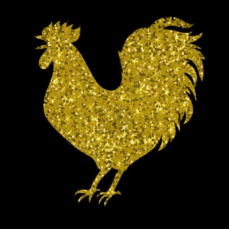 gold rooster with glitter, silhouette, isolated, vector illustration