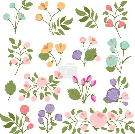 Illustration pour Modèle sans couture de fleurs et de feuilles sur un fond blanc - image libre de droit