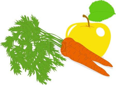 Illustration pour Carotte et pomme jaune, illustrations vectorielles sur fond transparent - image libre de droit