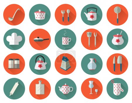 Kitchen utensils and cookware flat icons set