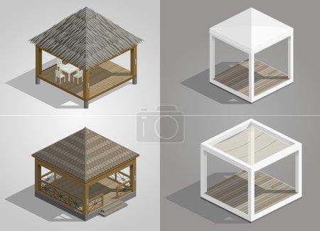 Set of four pavilions
