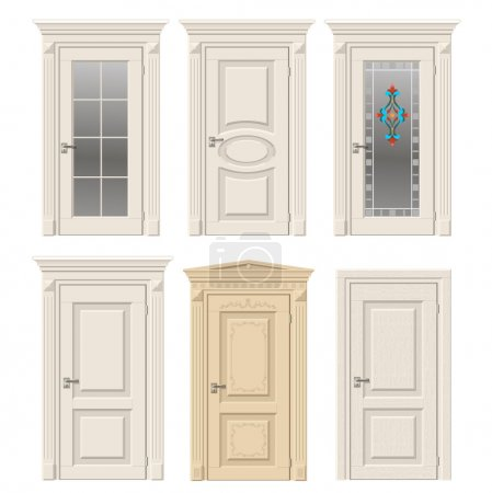 Illustration for Set of six classic vintage doors in Victorian and Baroque style with stained glass, ornaments. Color doors in a light beige wood. - Royalty Free Image