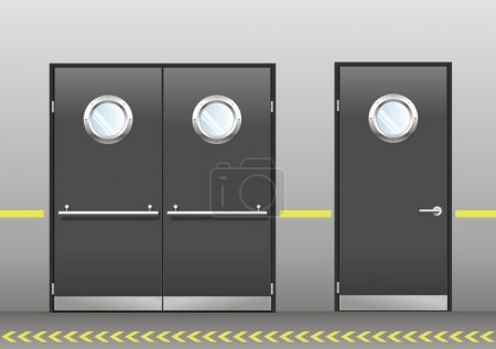 Set of technical doors with portholes