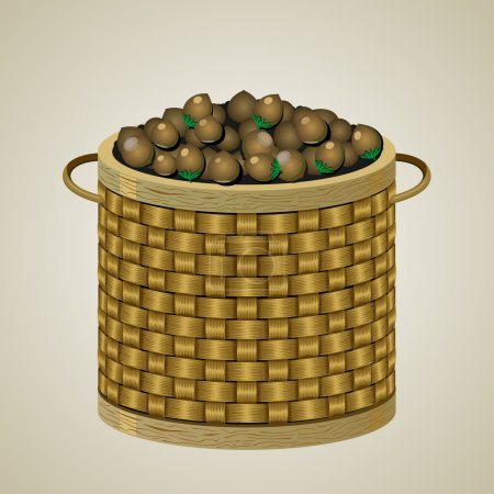 Wicker basket with nuts.