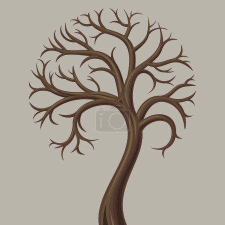Illustration pour Courbe du tronc arbre à feuilles caduques basses sans feuilles . - image libre de droit