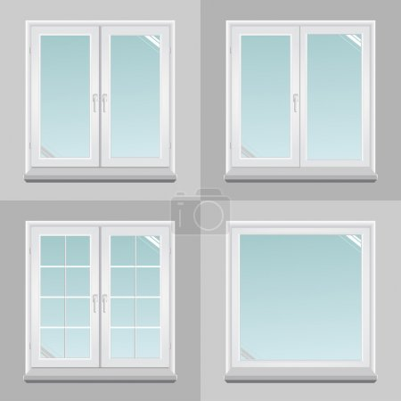 Illustration for Four pvc windows in the vector graphics. - Royalty Free Image