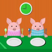 Two piglets at the table