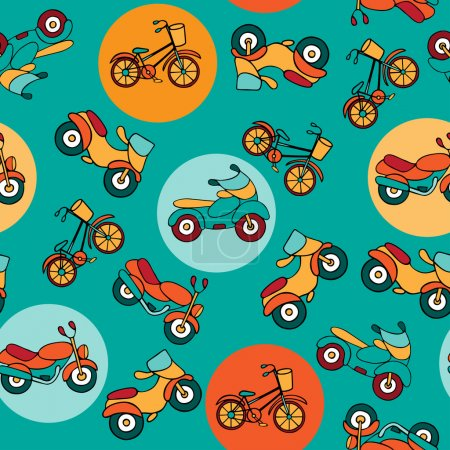 Seamless pattern with circles and motorcycles.