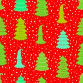 New year red background with Christmas trees and snow Will look good on paper for packing gifts for Christmas