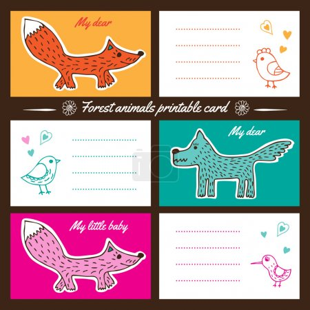 Forest animals printable cards