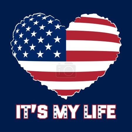 Photo pour American flag as heart shaped symbol. Patriotic Typography Graphics. Mans T-shirt Printing Design. Fashion Print for sportswear apparel. illustration - image libre de droit