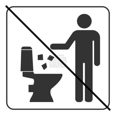 Illustration pour Ne pas jeter dans l'icône des toilettes. Gardez le signe propre. Silhouette d'un homme, jeter les ordures dans une poubelle, en carré isolé sur fond blanc. Pas de symbole d'avertissement. Information du public. Illustration vectorielle - image libre de droit