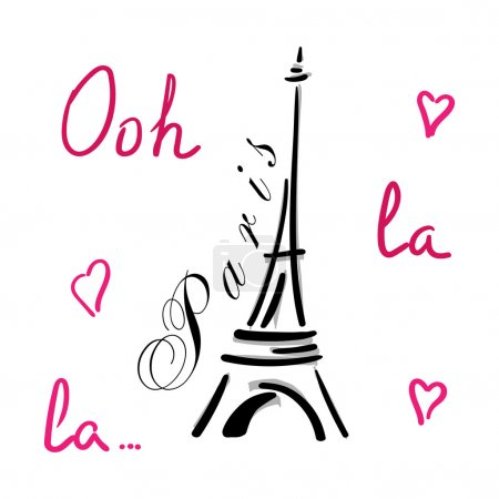 Eiffel Tower with hearts hand drawn