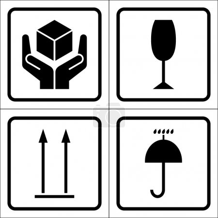 Illustration for Packaging symbols in a squares. Fragile icon, Keep dry icon, This side up icon, Handle with care icon. Fragile cardboard black signs isolated on a white background. Stock vector illustration - Royalty Free Image