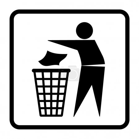 Illustration for Do not litter sign. Silhouette of a man, throwing garbage in a bin, isolated on white background. Icon vector - Royalty Free Image