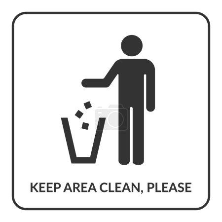 Illustration pour Gardez une icône propre. Ne pas jeter signe. Silhouette d'un homme, jetant des ordures dans une poubelle, isolé sur fond blanc. Pas de symbole de litière en carré. Icône d'information publique. Illustration vectorielle de stock - image libre de droit