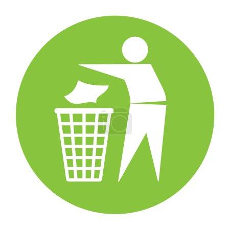 Illustration pour Gardez une icône propre. Ne pas jeter signe. Silhouette d'un homme dans le cercle vert, jetant des ordures dans une poubelle, isolé sur fond blanc. Pas de symbole de litière. Icône d'information publique. Illustration vectorielle - image libre de droit