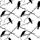 Seamless ravens and tree branches Vector silhouette of a crows in different positions