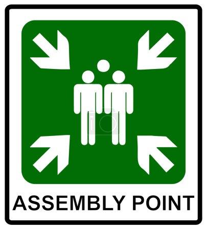 Illustration pour Icônes vectorielles d'urgence incendie. Signes d'évacuation. Point de rassemblement incendie . - image libre de droit